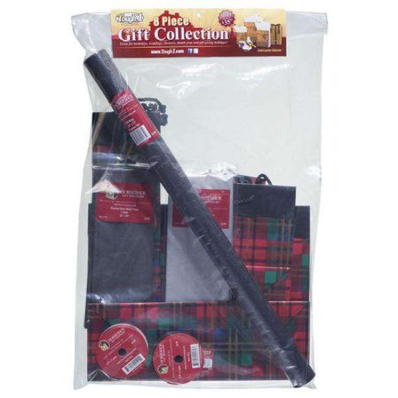 JT International Festive Plaid Gift Bag and Wrap Collection 8 Pack