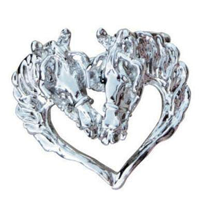 Intrepid International Driving Horse Heads in Heart Pendant