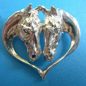 Intrepid International Driving Horse Heads Heart Pin