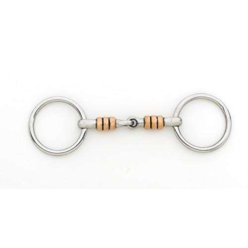 Turn-Two Equine Stainless Steel Copper Roller Snaffle Flat Ring Bit