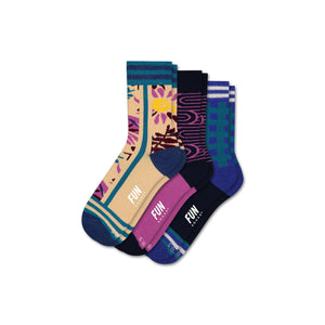 Fun Socks Girl's Floral 3 Pack Socks
