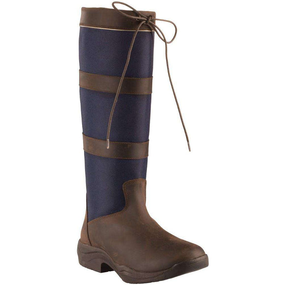 Horze Waterproof Country Tall Boots with Classic Leather Stripe Pattern