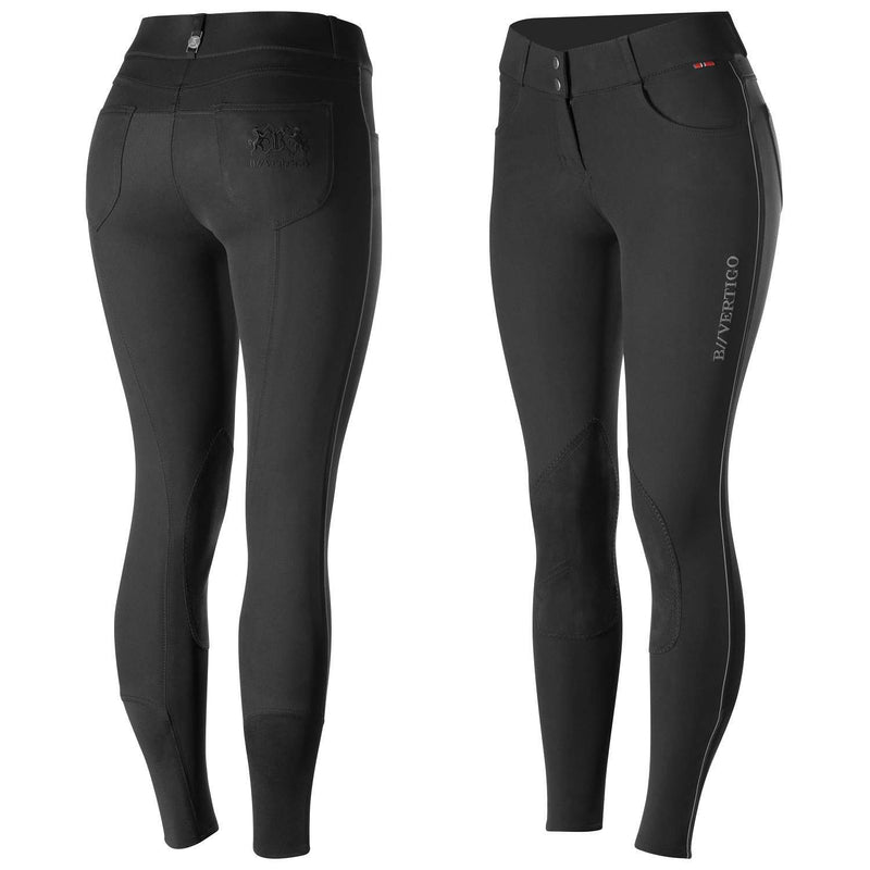 B Vertigo Kimberley Women's Leather Knee Patch Breeches, Knee Patch Breeches, B Vertigo, One Stop Equine Shop - One Stop Equine Shop