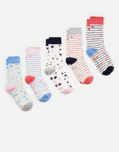 Joules Women's Soxbox Five Pack, Socks, Joules, One Stop Equine Shop - One Stop Equine Shop