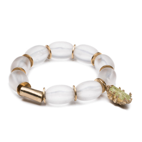 DECO BERYL AND LUCITE BRACELET