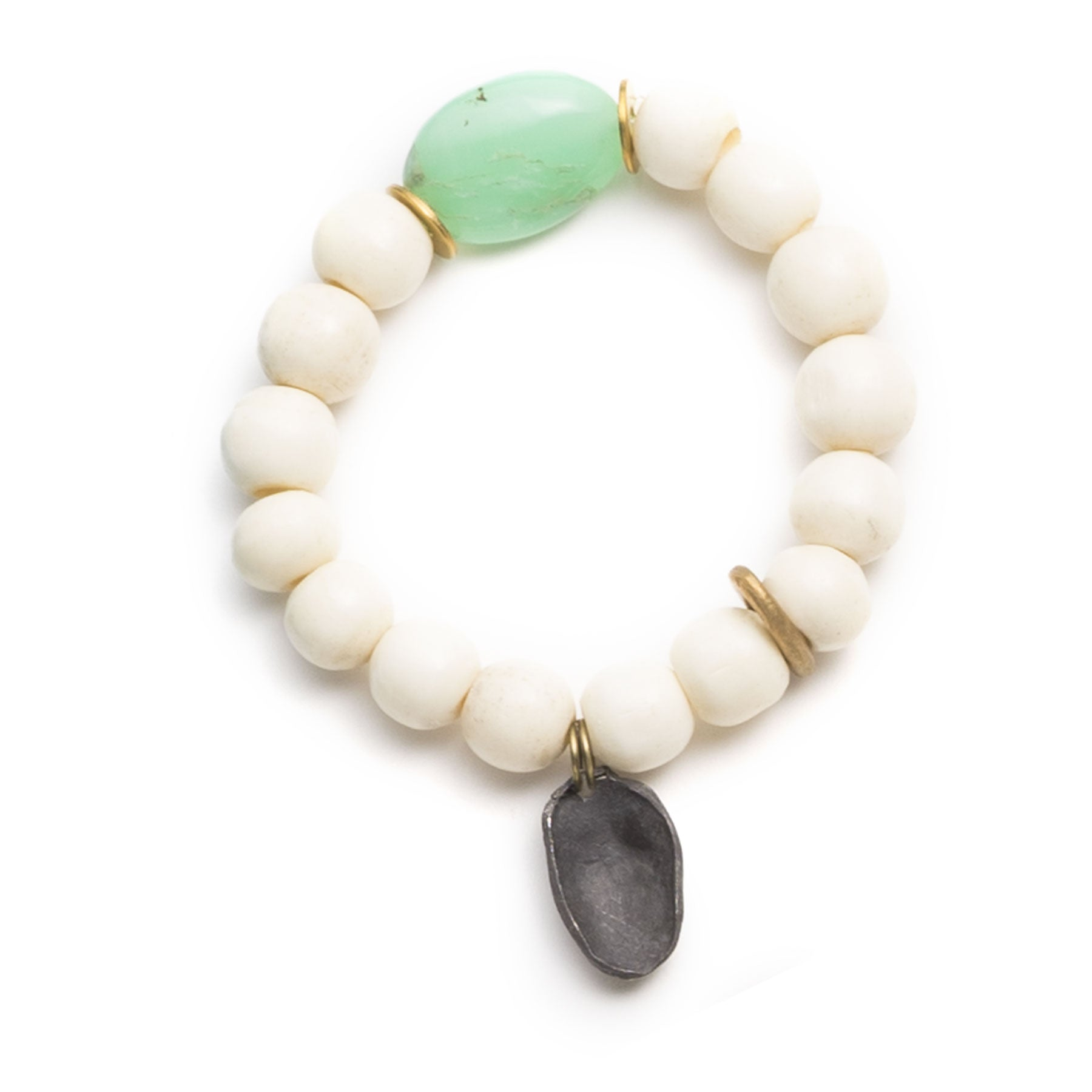 Chrysoprase and Vintage Bone Bracelet