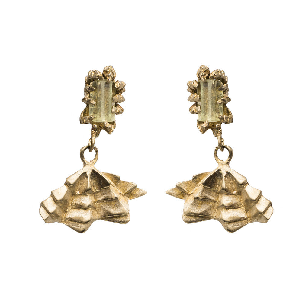 DECO GREEN BERYL AND FAN EARRINGS