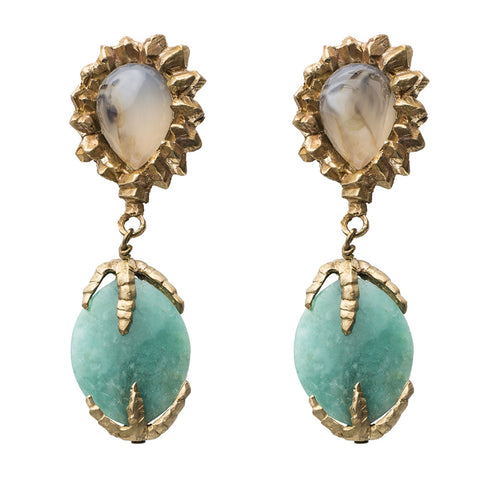 DECO AGATE AND CHRYSOPRASE EARRINGS