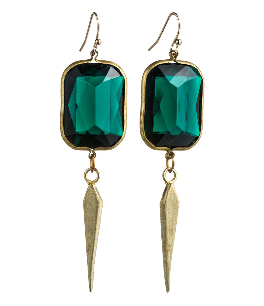 Single Deco Dagger and Lucite Earring