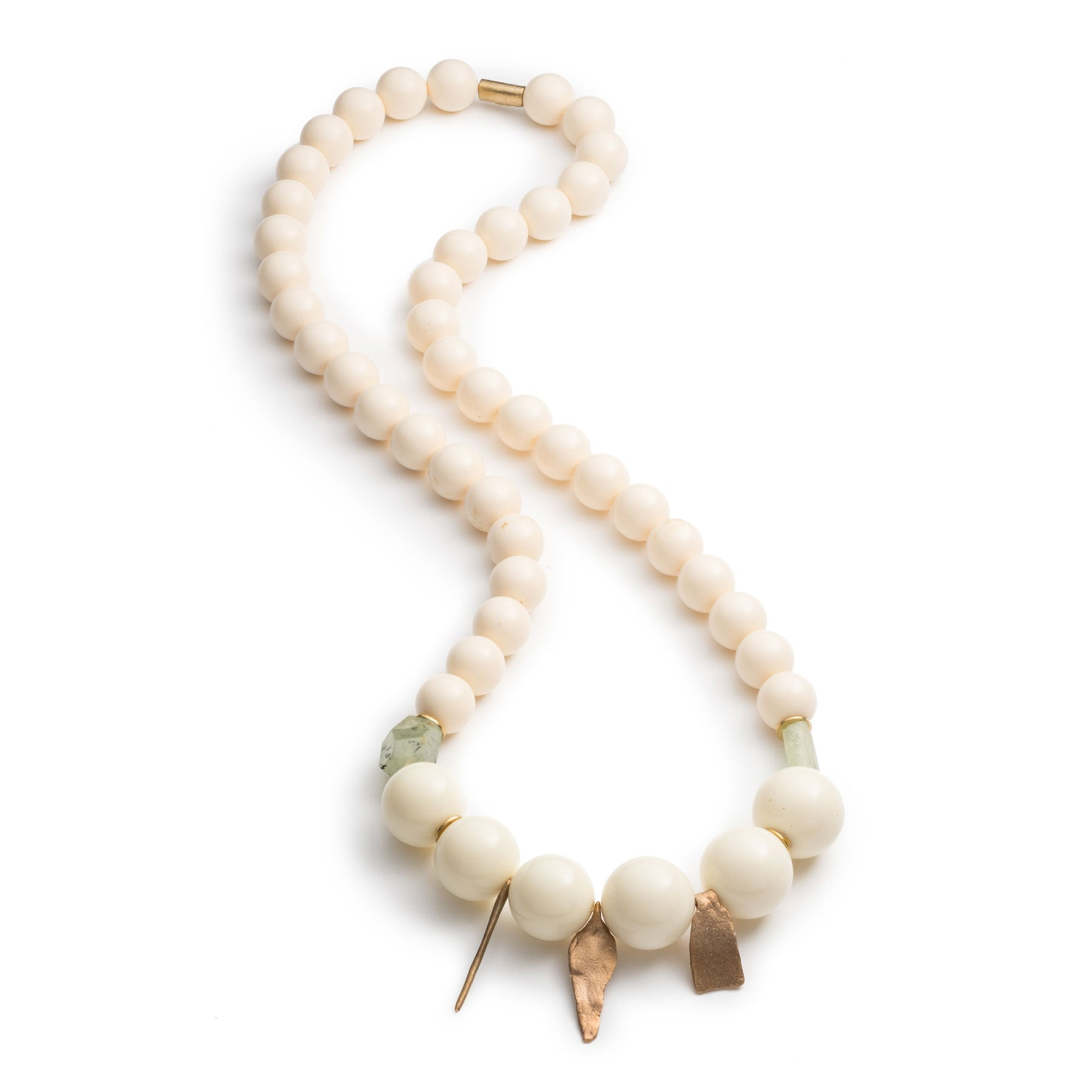 Lucite and Prehnite Necklace