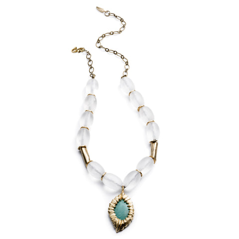 DECO CHRYSOPRASE AND LUCITE NECKLACE