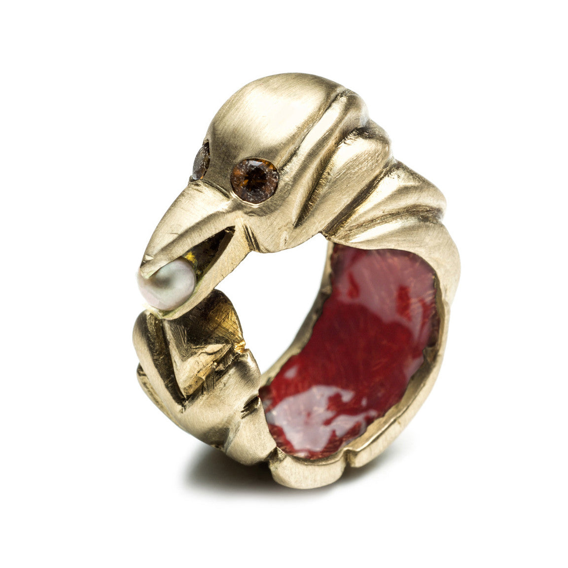 BIRD WITH PEARL TREASURE RING