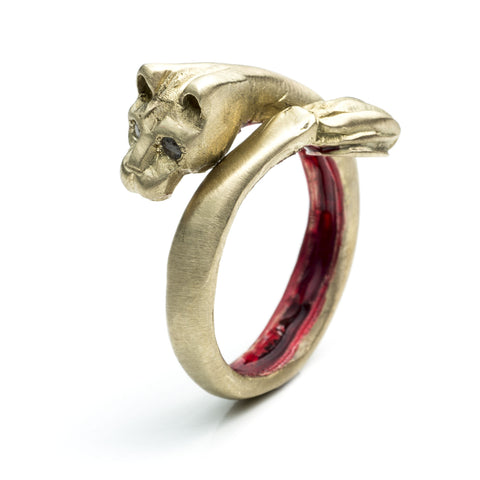 ENAMELED PLAYING CAT RING
