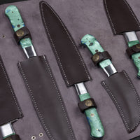 CUSTOM HANDMADE DAMASCUS KITCHEN CHEF SET WITH LEATHER ROLL KIT