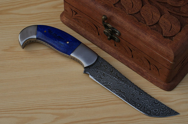 Damascus Hunting Knife Handle Coloured Bone