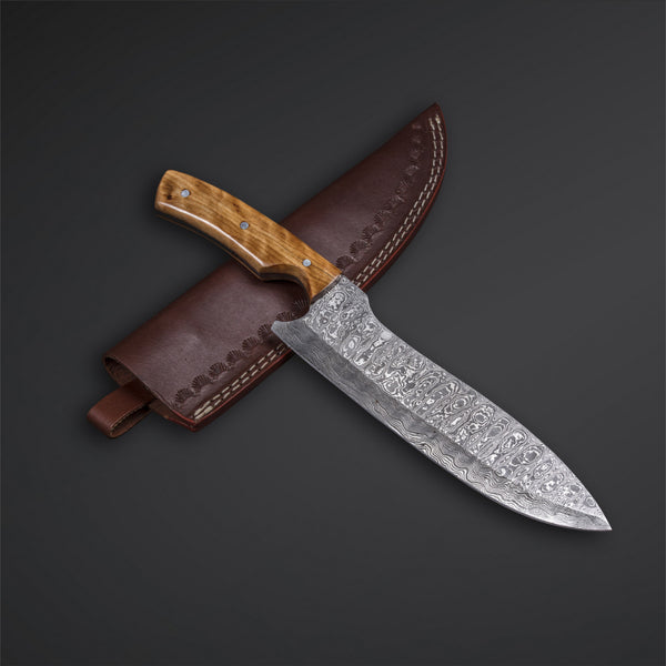 CUSTOM HANDMADE DAMASCUS CHEF KNIFE WITH LEATHER SHEATH