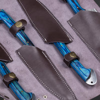 CUSTOM HANDMADE DAMASCUS 4 PCS CHEF SET WITH LEATHER ROLL KIT