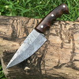 CUSTOM HANDMADE DAMASCUS GUTHOOK HUNTING KNIFE HANDLE ROSEWOOD