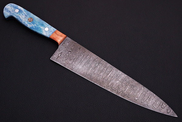 |NB KNIVES| CUSTOM HANDMADE DAMASCUS STEEL CHEF KNIFE WITH LEATHER SHEATH