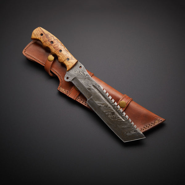 |NB KNIVES| CUSTOM HANDMADE DAMASCUS STEEL TRACKER KNIFE WITH LEATHER SHEATH