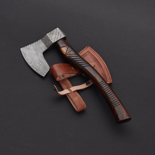 CUSTOM HANDMADE DAMASCUS AXE WITH LEATHER SHEATH