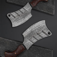 CUSTOM HANDMADE DAMASCUS HEAVY DUTY CLEAVER KNIFE WITH LEATHER SHEATH