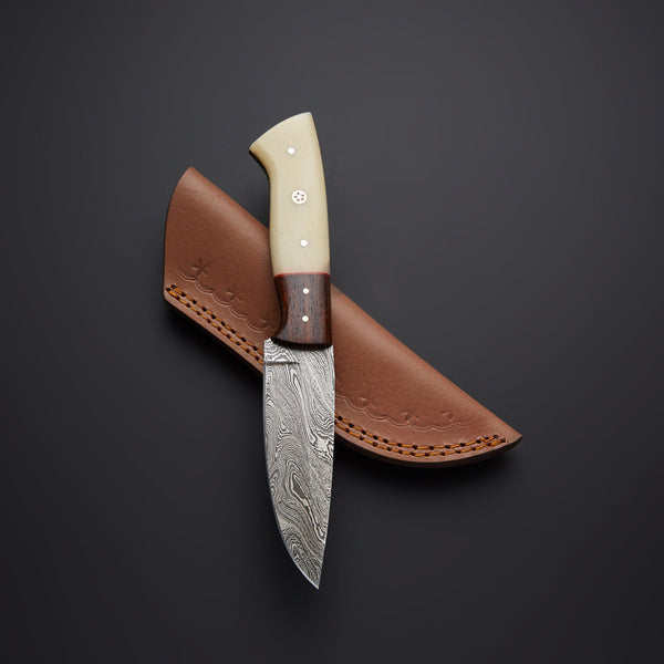 CUSTOM HANDMADE DAMASCUS HUNTING KNIFE Handle Materials: Camel Bone + Rose Wood