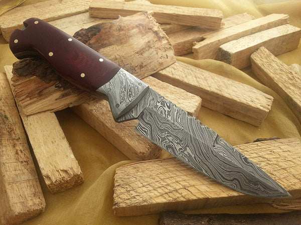 CUSTOM HANDMADE DAMASCUS HUNTING KNIFE HANDLE MICARTA