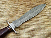 "BEAUTIFUL CUSTOM HANDMADE DAMASCUS STEEL DAGGER KNIFE ""NATURAL WOOD"""