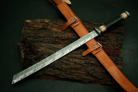 Awesome Handmade 30.0 inches Damascus Steel Hunting Machete/Sword