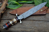 CUSTOM MADE HAND FORGED DAMASCUS STEEL HUNTING BIG FOOT BOWIE KNIFE