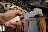 Custom Handmade Twist Damascus Walnut & Bone Hunting  EDC Blade Knife
