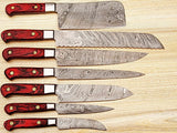CUSTOM MADE DAMASCUS BLADE 7Pcs. CHEF/KITCHEN KNIVES SET