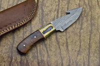 HAND FORGED DAMASCUS STEEL BLADE HUNTING KNIFE - ROSE WOOD