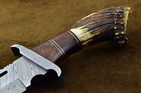 Custom Handmade Damascus Steel Hunting RAMBO Bowie Knife Wiht Stag Horn Handle.