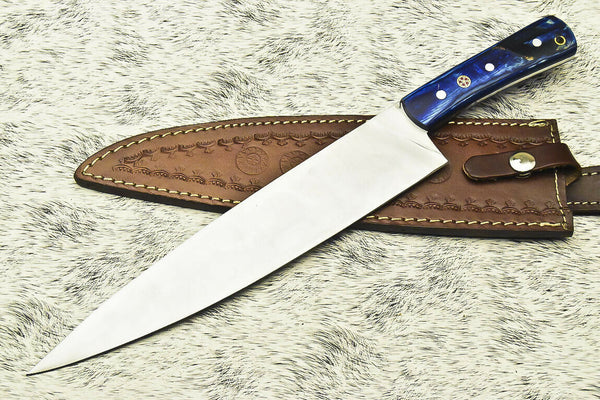 CUSTOM HANDMADE D2 TOOL STEEL FULL TANG | CHEF KNIFE | HARD WOOD
