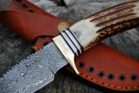 |NB KNIVES| Damascus Gut Hook Fixed Blade Knife with Stag Antler Handle & Leather Sheath