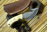 Damascus Steel Gut Hook Hunting Knife Handmade,Camel Bone Handle