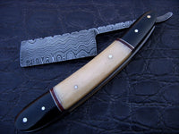 |NB KNIVES| CUSTOM HANDMADE DAMASCUS RAZOR WITH LEATHER SHEATH