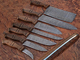 7 Pc's High Quality Hand forged Damascus Steel Kitchen Knives sets