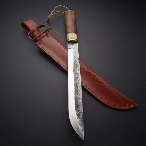 CUSTOM HAND FORGE HUNTING KNIFE WITH LEATHER SHEATH