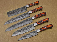 CUSTOM HAND FORGED DAMASCUS STEEL 5 PCS CHEF SET WITH LEATHER ROLL KIT