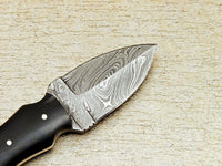 Handmade Damascus Camping HUNTING Knife EDC HANDLE MICARTA