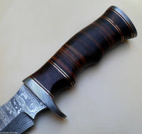 Handmade Damascus Steel Hunting Bowie Knife 11'' Stacked Leather Handle