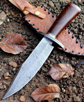 Handmade Damascus Steel Hunting Bowie Knife Rose Wood Handle