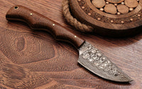 "Handmade Damascus Steel Hunting Knife "" Rose Wood Handle"