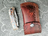 CUSTOM HANDMADE DAMASCUS STEEL POCKET KNIFE WITH LEATHER SHEATH