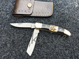 CUSTOM HANDMADE DAMASCUS STEEL TRAPPER POCKET KNIFE WITH LEATHER SHEATH