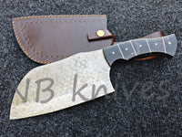 Custom Made Damascus Steel Chef Cleaver Knife