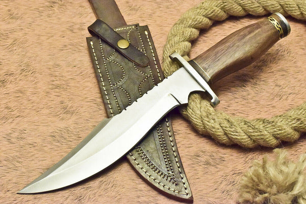 CUSTOM HANDMADE D2 TOOL STEEL HUNTING BOWIE KNIFE WALNUT WOOD